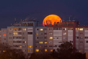 Nagykanisza, Hungary The so-called super full moon shining in the sky above the town, 208 kms southwest of Budapest