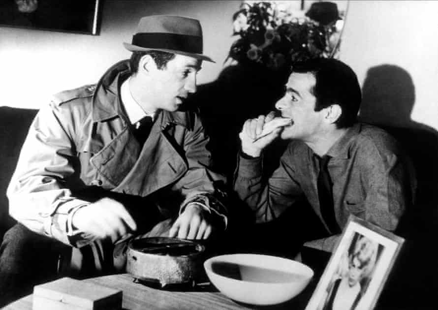 Jean-Paul Belmondo and Serge Reggiani in Jean-Pierre Melville's Le Doulos (The Finger Man), 1962.