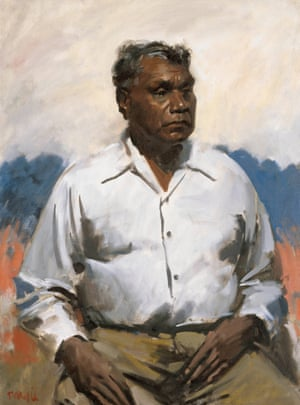 This bravura portrait of Western Arrernte artist Albert Namatjira by William Dargie is probably the most recognisable and universally respected of all Archibald winners. In 1957, Namatjira was the first Aboriginal person granted Australian citizenship. Dargie was rewarded by Archibald judges eight times between 1941 and 1956 – a record unmatched in the prize's history.Oil on canvas (1956)