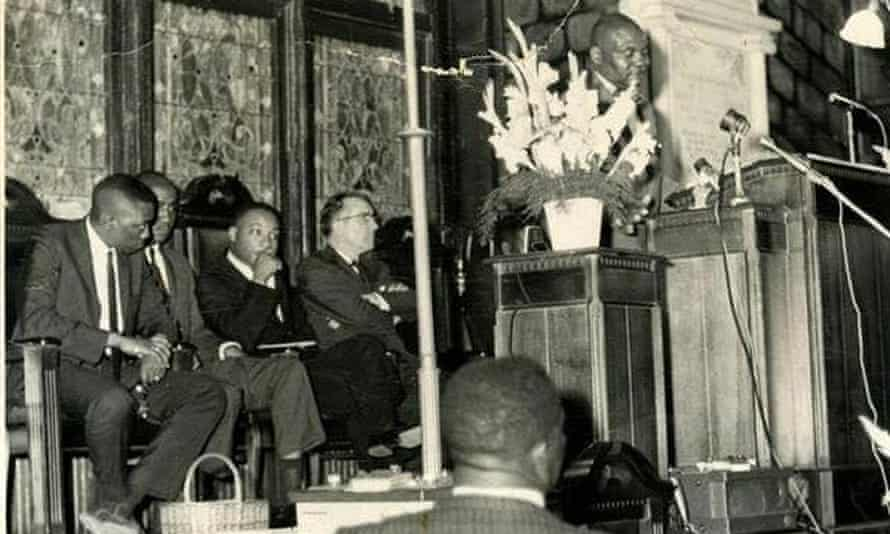 Martin Luther King, seated third from left, waits to speak at the Emanuel AME church in Charleston.