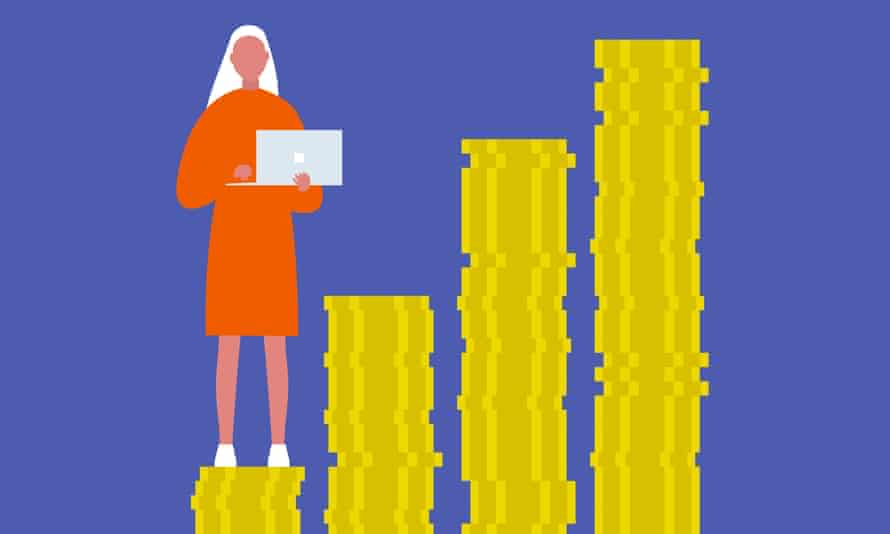 Illustration of a young woman standing on a small stack of money.
