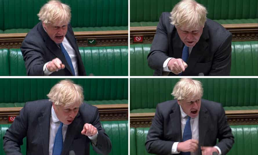 Boris Johnson shows his anger at Keir Starmer's questioning in the Commons on Wednesday.