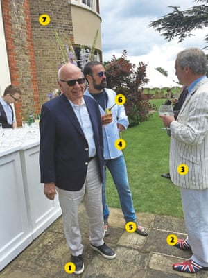 Thick as thieves … Murdoch, Lebedev and Farage at the oligarch's summer jamboree.