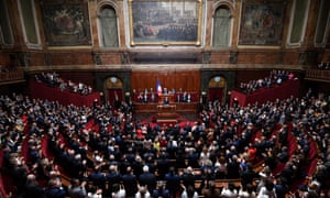 French President Macron addresses a special congress gathering both houses of parliament at Versailles Palace