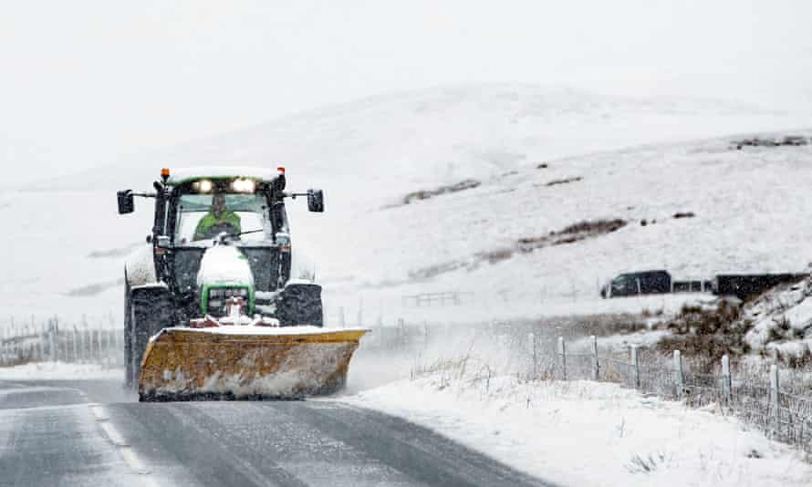 A snowplough on the road between Ingleton and Hawes in the Yorkshire Dales