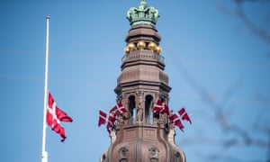 Flags fly at half staff from Christiansborg Palace to commemorate the victims of the attacks in Sri Lanka, in Copenhagen, Denmark, April 23, 2019.