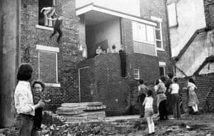 Kids jumping onto Mattresses, 1980.
