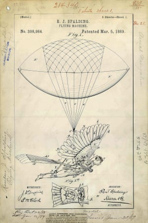 USA, 1889: A device invented by Reuben Spalding to allow a person to fly via the aid of a balloon and bird-like wings. It is not known whether a full scale version was ever made