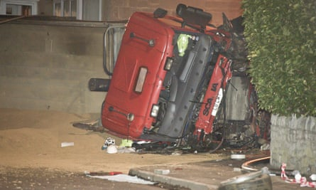 The scene after the 32-tonne tipper truck careered out of control down a hill in Bath, killing four people.