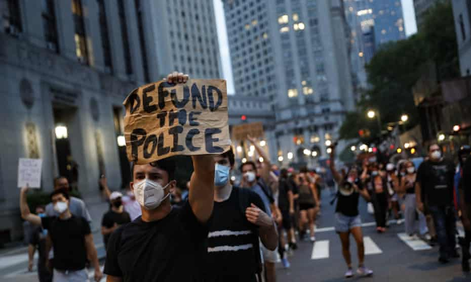 A protest march in support of the Black Lives Matter movement and other groups, 30 July 2020, in New York.