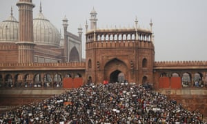 Protesters against the Citizenship Amendment Act after Friday prayers outside the Jama Masjid in New Delhi.