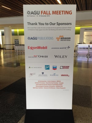 "AGU 2015 fall meeting ""Thank you to our sponsors"" board."