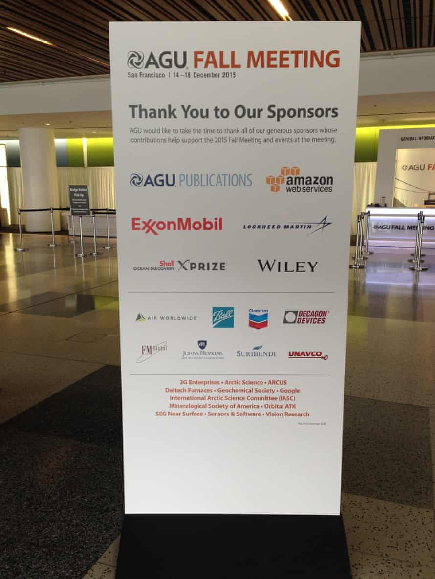 """AGU 2015 fall meeting """"Thank you to our sponsors"""" board."""