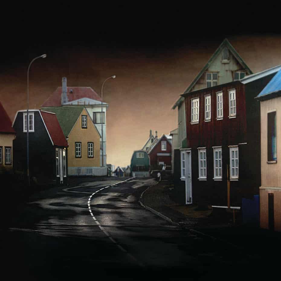 a dark street at night in Iceland