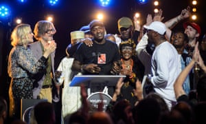 Skepta shortly after being announced as the winner of the 2016 Mercury Prize in London.