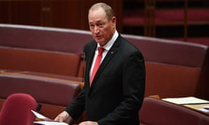 Senator Fraser Anning makes his maiden speech in the Senate chamber at Parliament House in Canberra, Australia. During his speech, Anning suggested a majority of Australians may want to return to the discarded 'White Australia' immigration policy, and that the 'final solution' for Australia's immigration policy is a referendum.