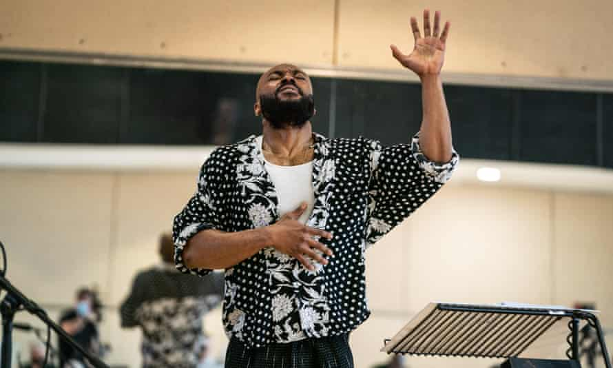 Arinzé Kene during rehearsals for Get Up, Stand Up! at the Lyric theatre.
