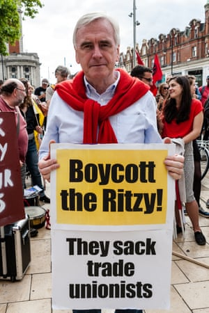 John McDonnell, Labour's shadow chancellor, on the Ritzy picket line.