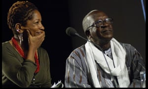 Bonnie Greer interviewing Ousmane Sembene, 'the father of African cinema' in London.