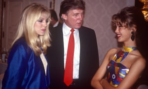 Trump with his then fiancee Marla Maples (left) and a contestant in the 1991 Look of the Year competition.