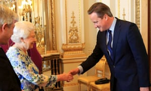 Queen and David Cameron at Buckingham Palace reception.