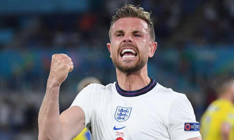 Jordan Henderson celebrates after scoring England's fourth goal against Ukraine