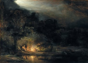 Landscape With the Rest on the Flight into Egypt, 1647, by Rembrandt.