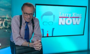 Larry King, on the set of his show on Russia Today.