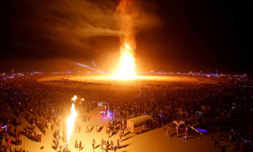 The Man is engulfed in flames at the 2017 Burning Man festival, Elon Musk's favorite, in the Black Rock desert of Nevada.