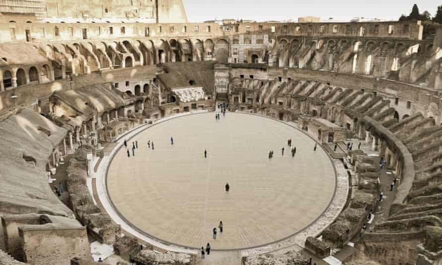 Një përshtypje e artistëve për një dysheme të arenës së anulueshme. Dyshemeja e amfiteatrit romak u hoq në fund të viteve 1800 kur arkeologët filluan të gërmojnë nivelet nëntokësore të strukturës