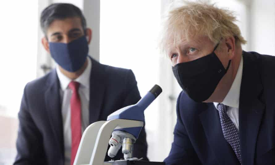 Rishi Sunak and Boris Johnson pictured in April in mask with a microscope