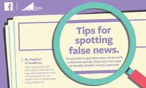 A Facebook ad urges users to beware of false news stories.