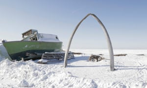 A whale bone arch is seen at Utqiaġvik on the north coast of Alaska. Unreliable sea ice is making the traditional hunting of bowhead whales precarious.