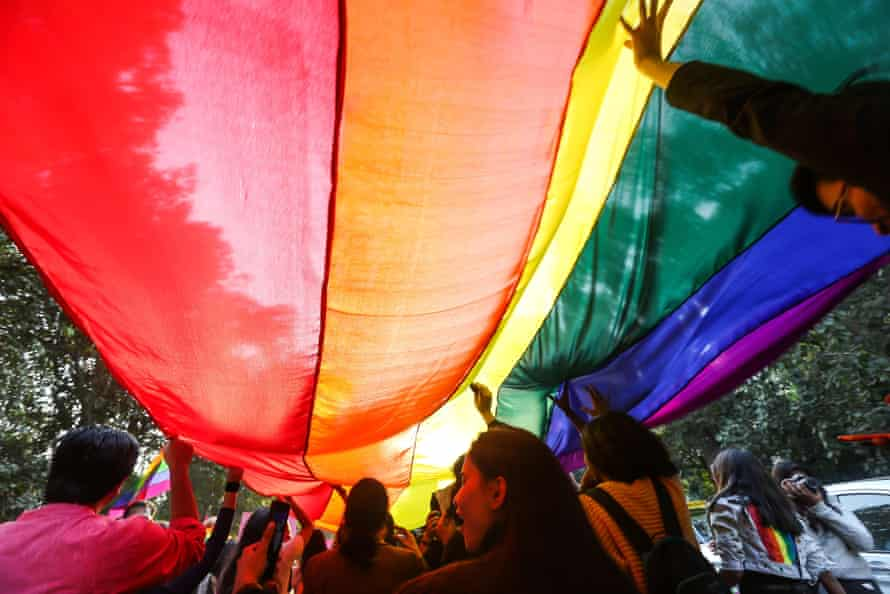 Supporters and members of LGBT community take part in India's largest Queer Pride Parade in New Delhi, in November 2018