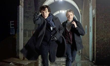 Benedict Cumberbatch as Sherlock Holmes and Martin Freeman as Dr Watson in BBC's Sherlock