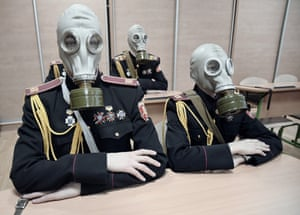 In the shadow of the empire Young people train to wear a gas mask at a military academy in Kiev. Since the beginning of the conflict between the pro-Russian separatists of Donbass and the Ukrainian government forces, military schools have been sold out, Kiev, Ukraine, January 2018.