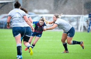Teleri Wyn-Davies makes a tackle during a Premier 15s game against Bristol.