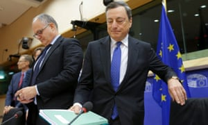 President of the European Central Bank Mario Draghi at today's hearing of the European Parliament Committee on Economic and Monetary Affairs.