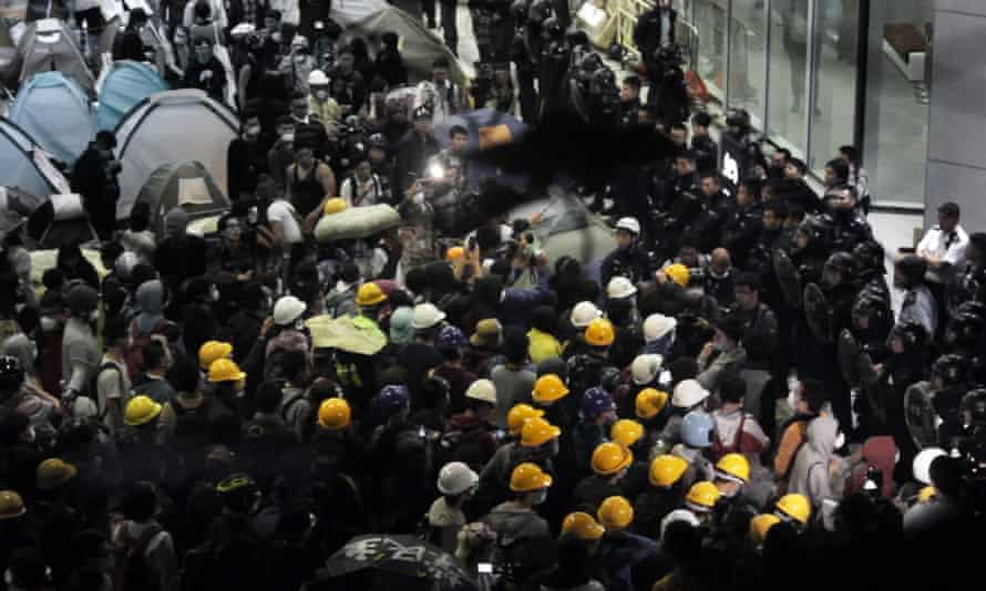 The umbrella movement protests erupted on the streets of Hong Kong in September 2014.