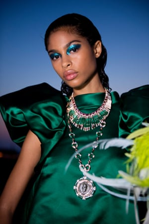 The make-up was as dramatic as the looks on the Cape Sounion catwalk, such as metallic eyeshadows which became a mesmerising complement to several of Katrantzou's satin looks.