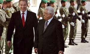 Tony Blair and then Palestinian president Mahmoud Abbas in 2006, as violence raged in Gaza between Hamas and Fatah.