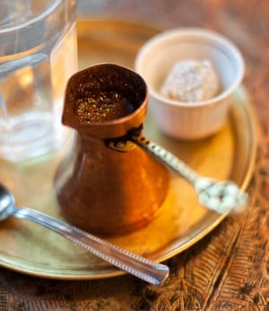 Break time: Turkish coffee, as served in a Sarajevo cafe.