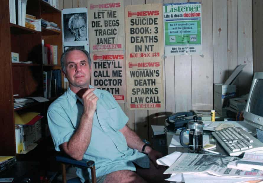 Dr Philip Nitschke in his office in Coolalinga, Northern Territory, in 1997