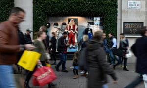 Christmas shoppers in Oxford Street, central London.