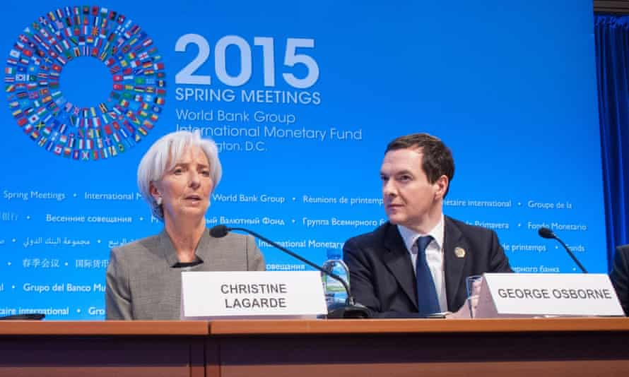 IMF director general Christine Lagarde speaks at a press conference with British chancellor George Osborne.
