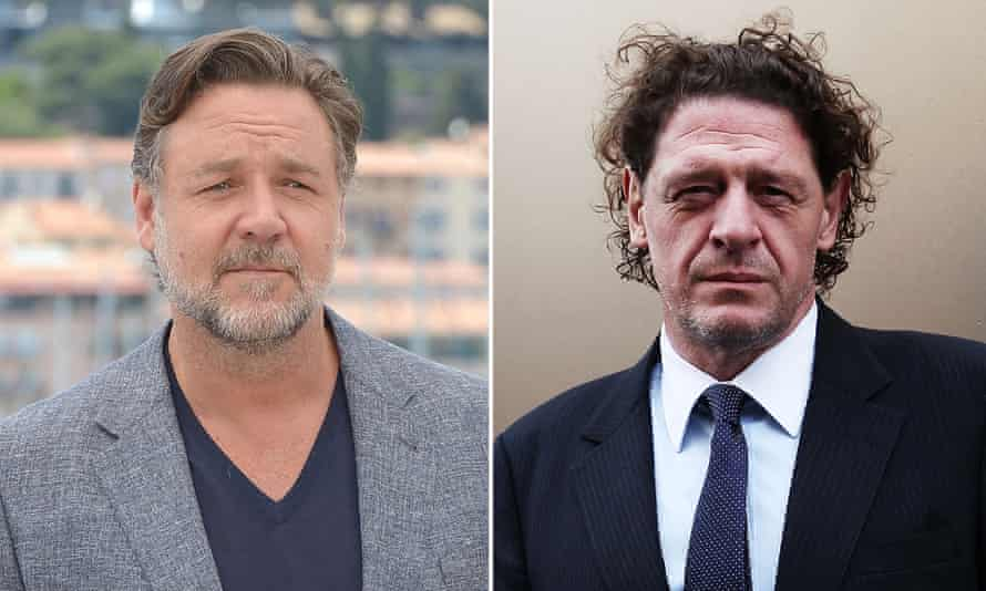 actor Russell Crowe, left, and chef Marco Pierre White.