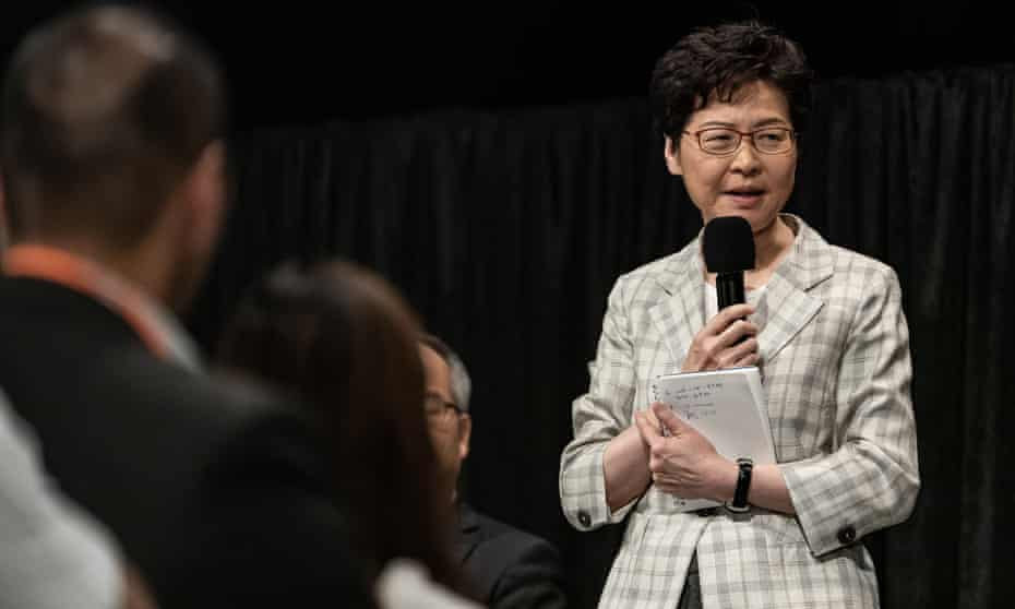 Hong Kong chief executive Carrie Lam speaks during the first community dialogue session on 26 September.