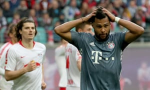 Bayern's Serge Gnabry reacts to a missed opportunity.