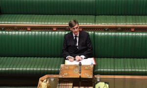 Jacob Rees-Mogg in an empty House of Commons.