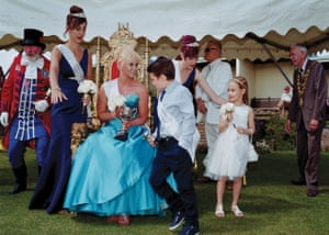 2015 Queen of Sheringham, Norfolk, Lizzie Swanson with attendants, Megan Gladman, Emma-Louise Glover, Prince Ollie Harrison and Princess Amy Little